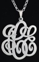 "Sterling Silver Large Three Initials Monogram with 18"" Chain"
