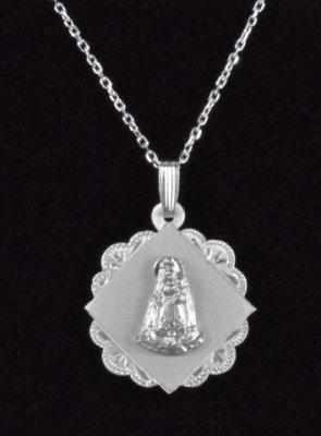 ".925 Sterling Silver ""Virgen de la Caridad"" Medal and Chain"