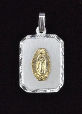 "Sterling Silver and 14K Gold ""Our Lady of Guadalupe"" Medal"