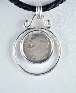1966 US DIME COIN with Black Leather Cord Necklace 16""