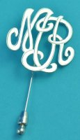 Two Initials Personalized Monogram Stick Pin Sterling Silver
