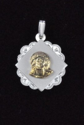 "Sterling Silver and 14K Gold ""Christ Jesus"" Face Medal Pendant"