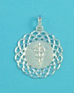 .925 Sterling Silver Lace Circle ID Medical Alert Pendant