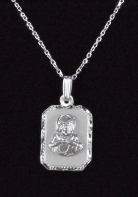 "Sterling Silver ""Sacred Heart of Jesus"" Rectangle Medal/Chain"