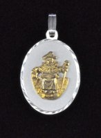 "Sterling Silver and 14K Gold ""Santo Nino de Atocha"" Oval Medal"
