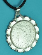 "1896 Morgan O Silver Dollar Coin Pendant and 18"" Cord Necklace"