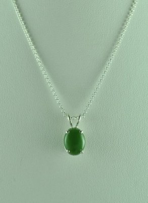 Green Jade Sterling Silver Pendant with Chain
