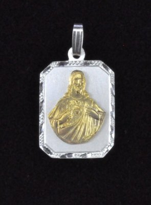 "Sterling Silver and 14K Gold ""Sagrado Corazon de Jesus"" Medal"