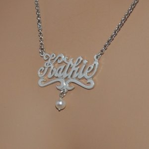 Sterling Silver Name Necklace with Freshwater Pearl