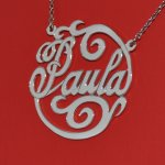 Name Necklace Script Letter Monogram Sterling Silver