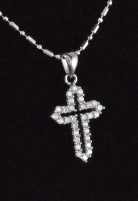 Cubic Zirconia stones Open Cross Sterling Silver Pendant/Chain