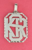 Monogram Three Interlaced Block Initials Pendant Sterling Siver