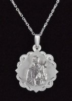 ".925 Sterling Silver ""St. Gerard"" Medal Pendant and Chain"