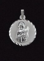 Virgin Saint Lucy Santa Lucia Round Medal .925 Sterling Silver