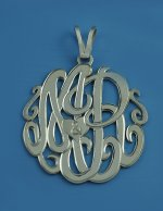 Sterling Silver Two Initials w/Heart Monogram