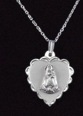 ".925 Sterling Silver""Caridad del Cobre"" Heart Shaped Medal/Chain"