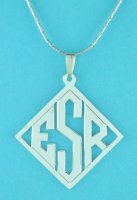 Sterling Silver Rhombus Personalized Monogram 3 Initials Pendant