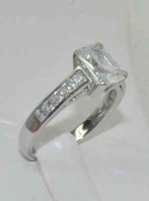 Octagon & Square Cubic Zirconia Engagement Ring Sterling Silver