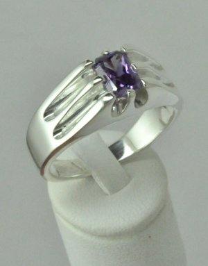 1.63Ct Natural Amethyst Men's Ring Sterling Silver