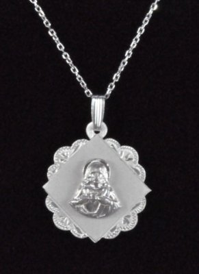 ".925 Sterling Silver ""Sacred Heart of Jesus"" Medal and Chain"