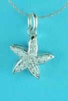 3D Star Cubic Zirconia Pendant with Chain .925 Sterling Silver