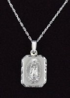".925 Sterling Silver ""Virgen de Guadalupe"" Rectangle Medal/Chain"